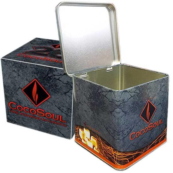 CocoSoul® Kohlebox für 1kg Naturkohle + 1 kg CocoSoul® 26er Naturkohle Cubes aus Kokonussschalen