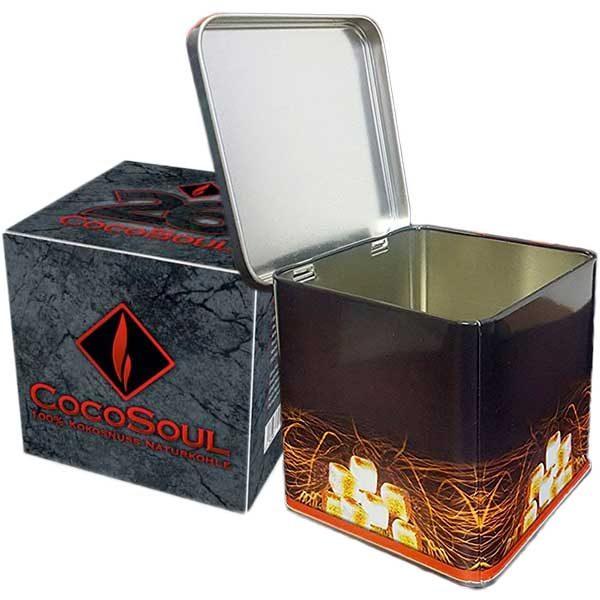 Kohlebox für 1kg Naturkohle + 1 kg CocoSoul® 26er Naturkohle Cubes aus Kokonussschalen