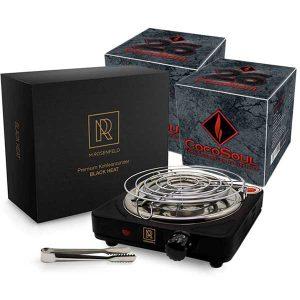 M.Rosenfeld Premium Kohlenanzünder für Shisha Kohle + 2 kg CocoSoul® 26er Naturkohle Cubes aus Kokonussschalen