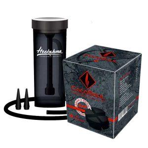 "Shisha 2 Go ""HAZE"" von Hookahma® + 1 kg CocoSoul® 4er- Runde oder Kaloud Naturkohle Cubes aus Kokonussschalen"